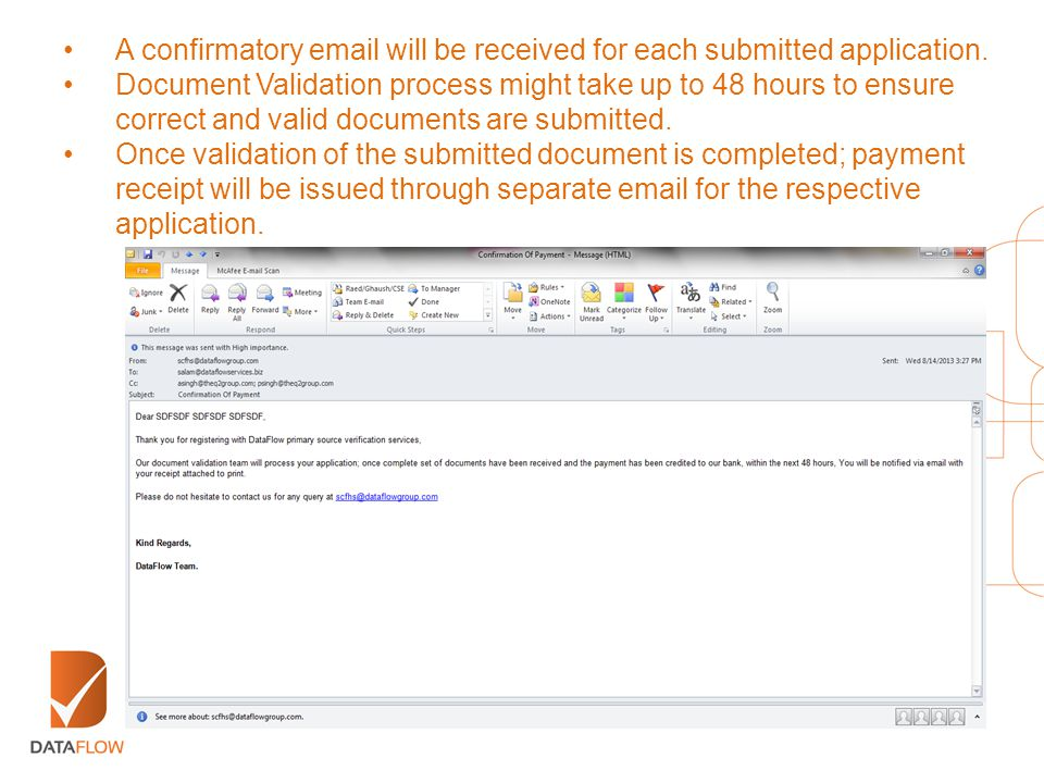 A confirmatory email will be received for each submitted application.