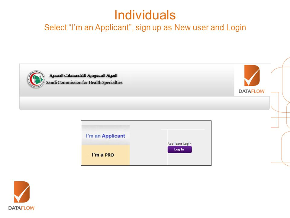Select I'm an Applicant , sign up as New user and Login