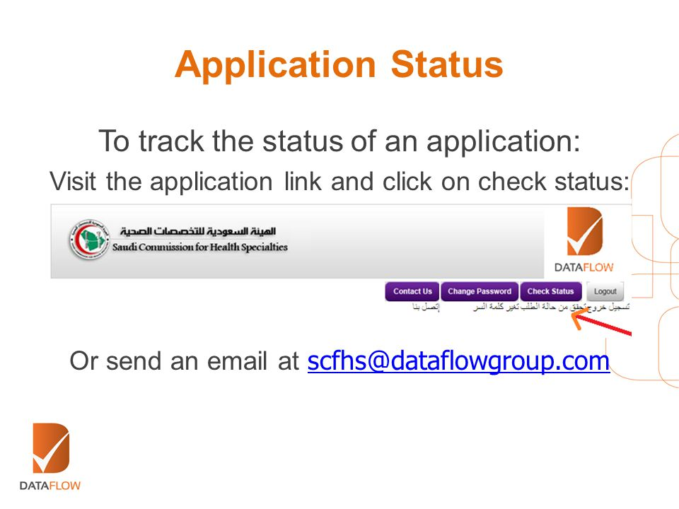 Application Status To track the status of an application: