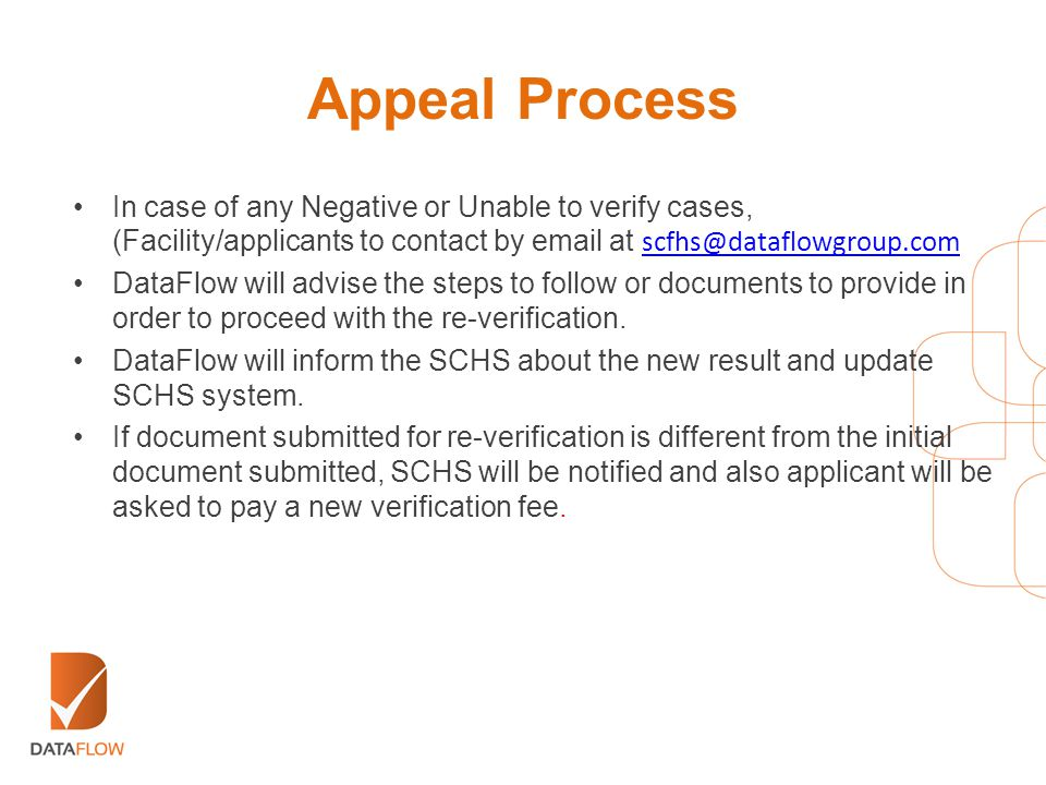 Appeal Process In case of any Negative or Unable to verify cases, (Facility/applicants to contact by email at scfhs@dataflowgroup.com.