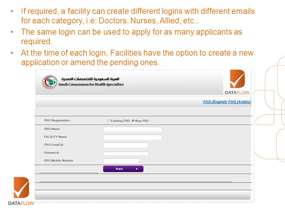 If required, a facility can create different logins with different emails for each category, i.e: Doctors, Nurses, Allied, etc..