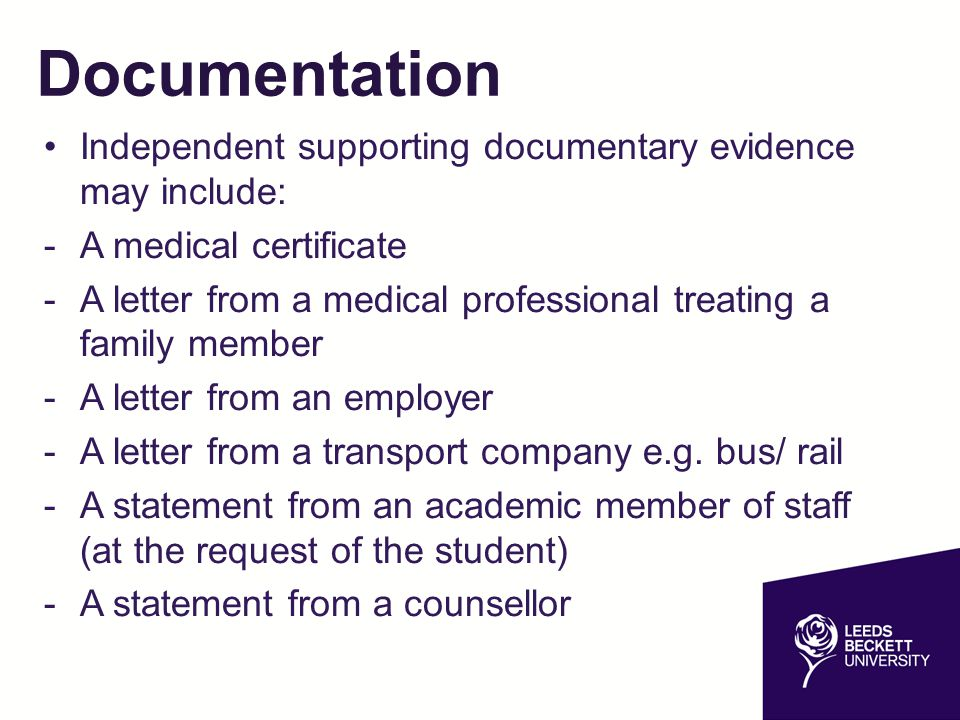 Documentation Independent supporting documentary evidence may include: