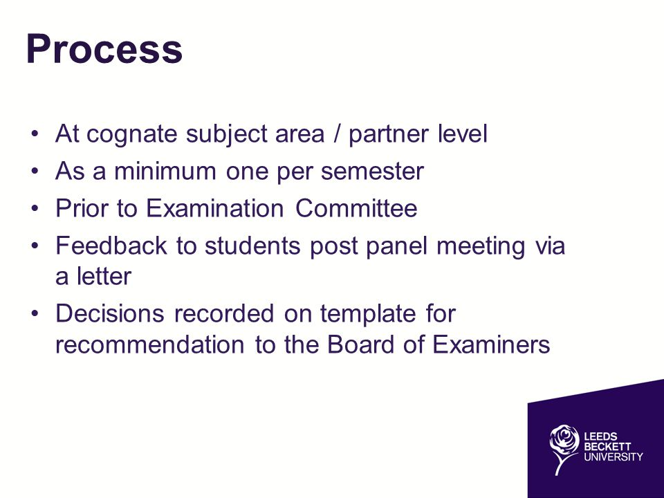 Process At cognate subject area / partner level