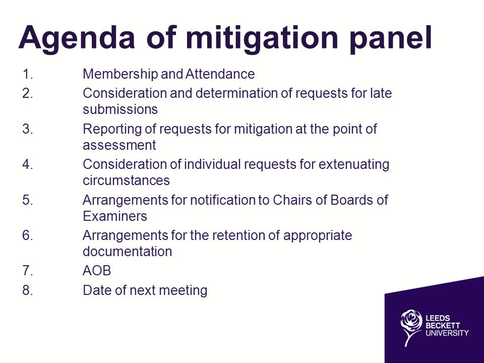 Agenda of mitigation panel