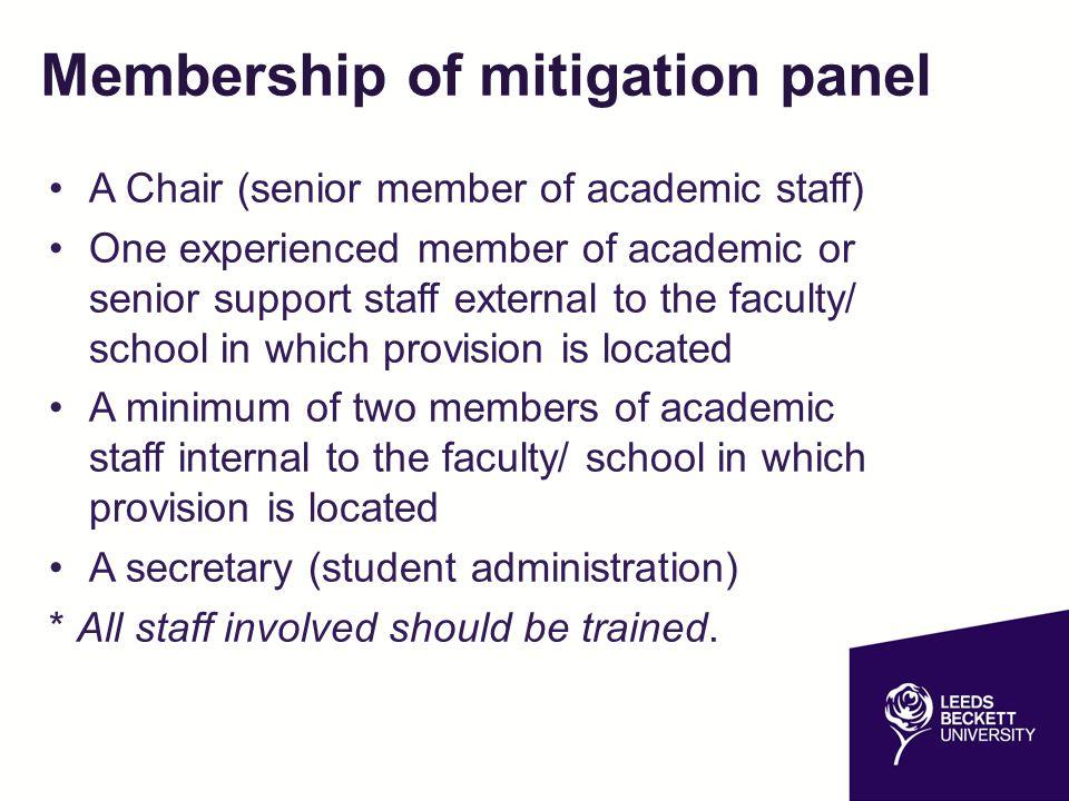 Membership of mitigation panel
