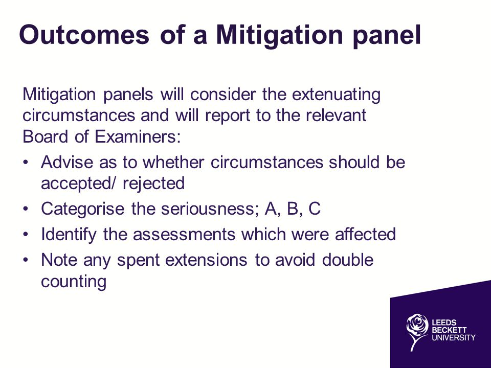 Outcomes of a Mitigation panel