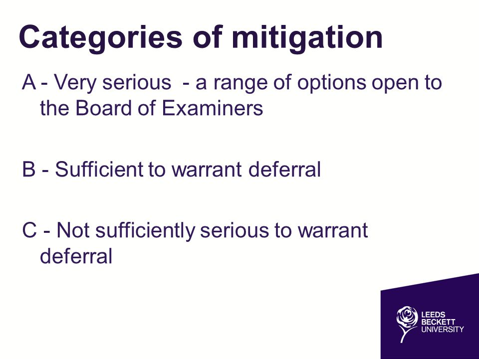 Categories of mitigation