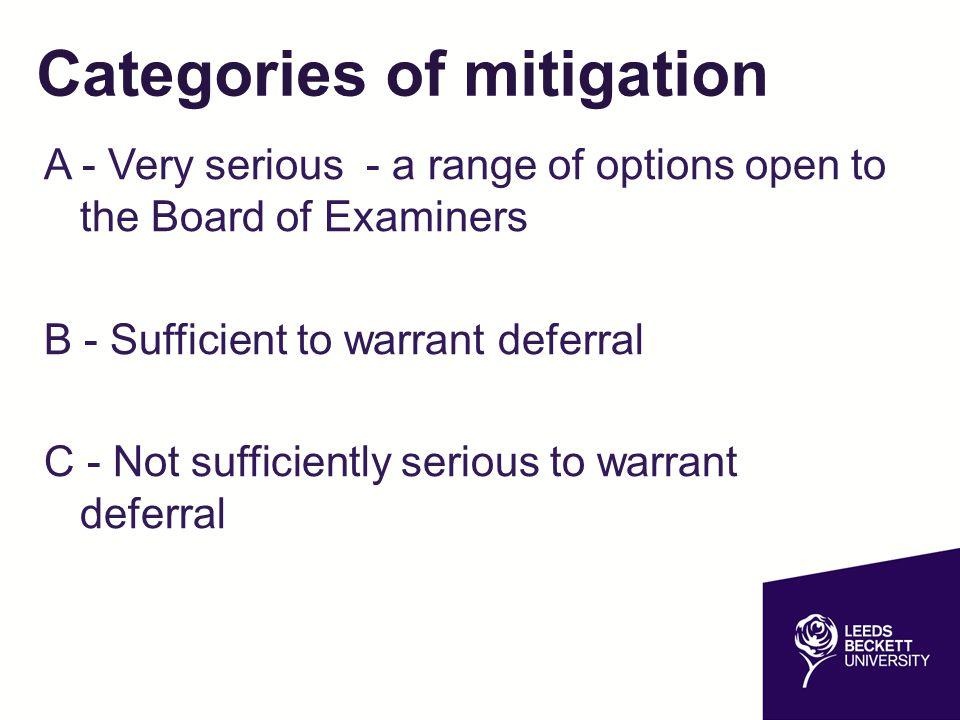 Categories of mitigation