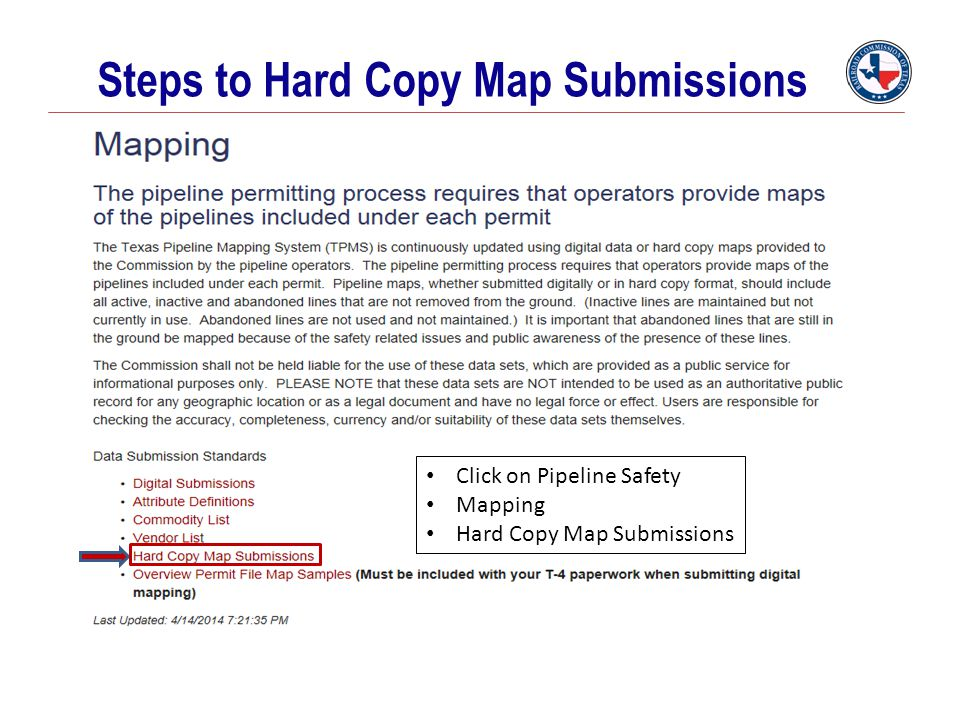 Steps to Hard Copy Map Submissions