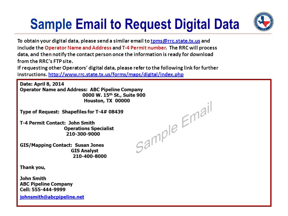 Sample Email to Request Digital Data