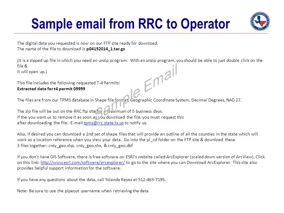 Sample email from RRC to Operator