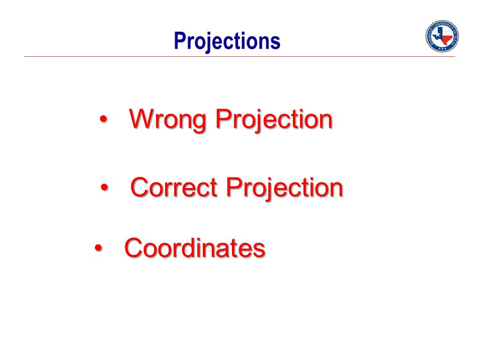 Projections Wrong Projection Correct Projection Coordinates