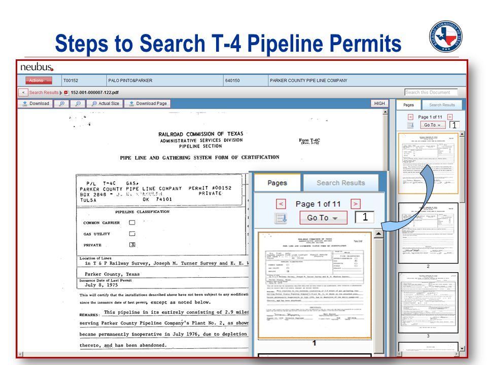 Steps to Search T-4 Pipeline Permits
