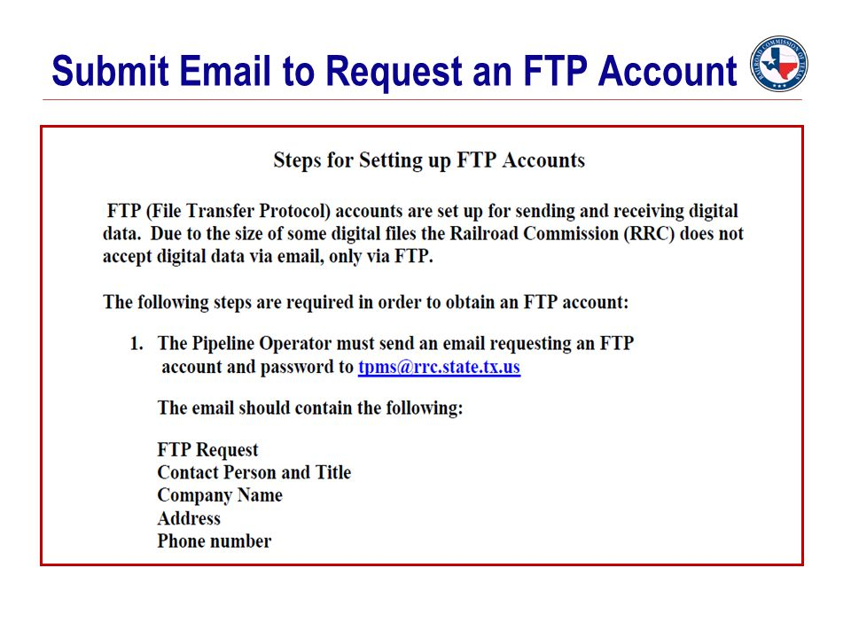 Submit Email to Request an FTP Account