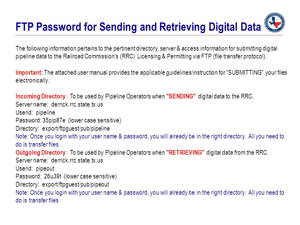 FTP Password for Sending and Retrieving Digital Data