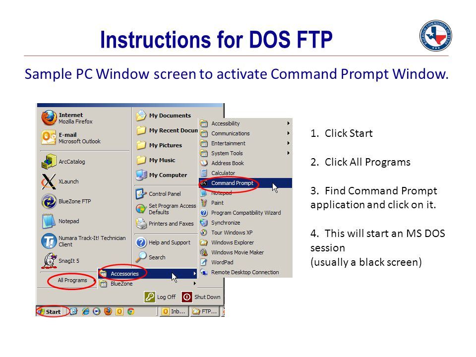 Sample PC Window screen to activate Command Prompt Window.