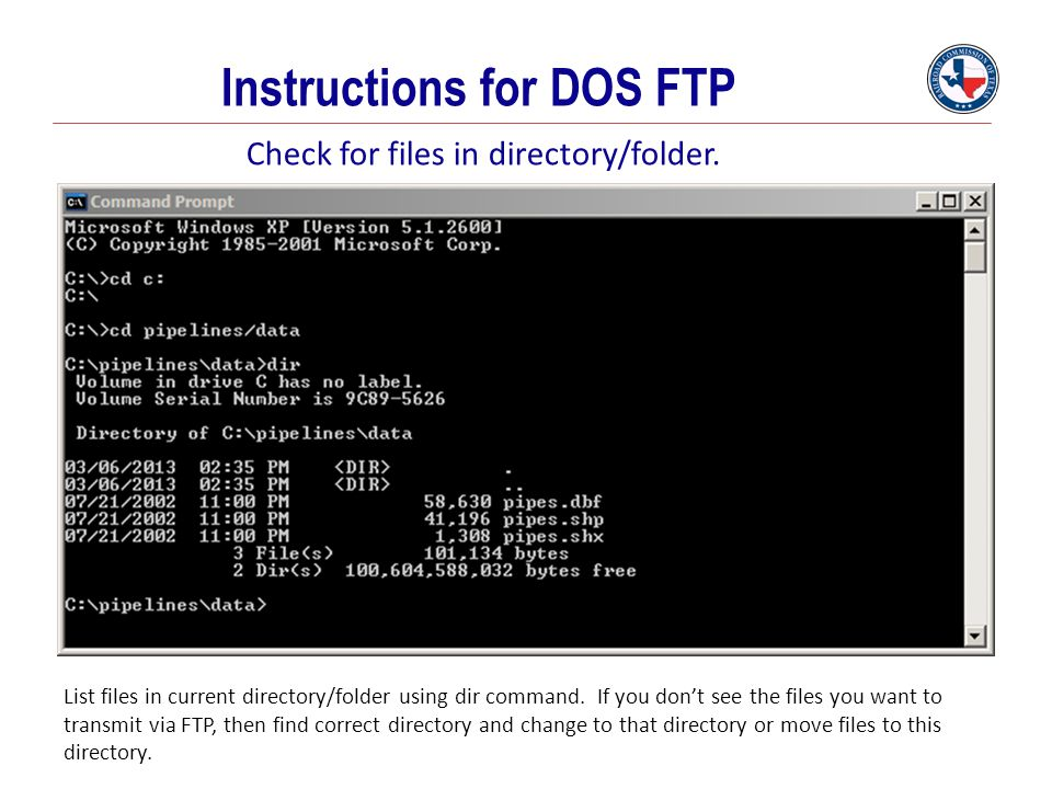 Instructions for DOS FTP