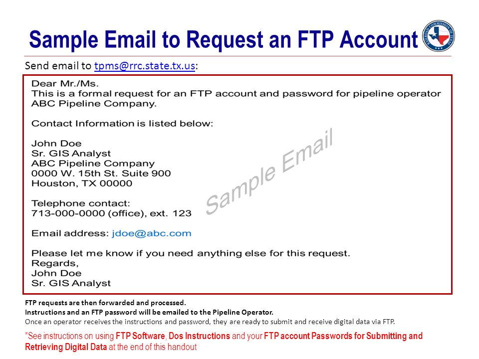 Sample Email to Request an FTP Account