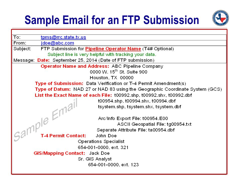 Sample Email for an FTP Submission