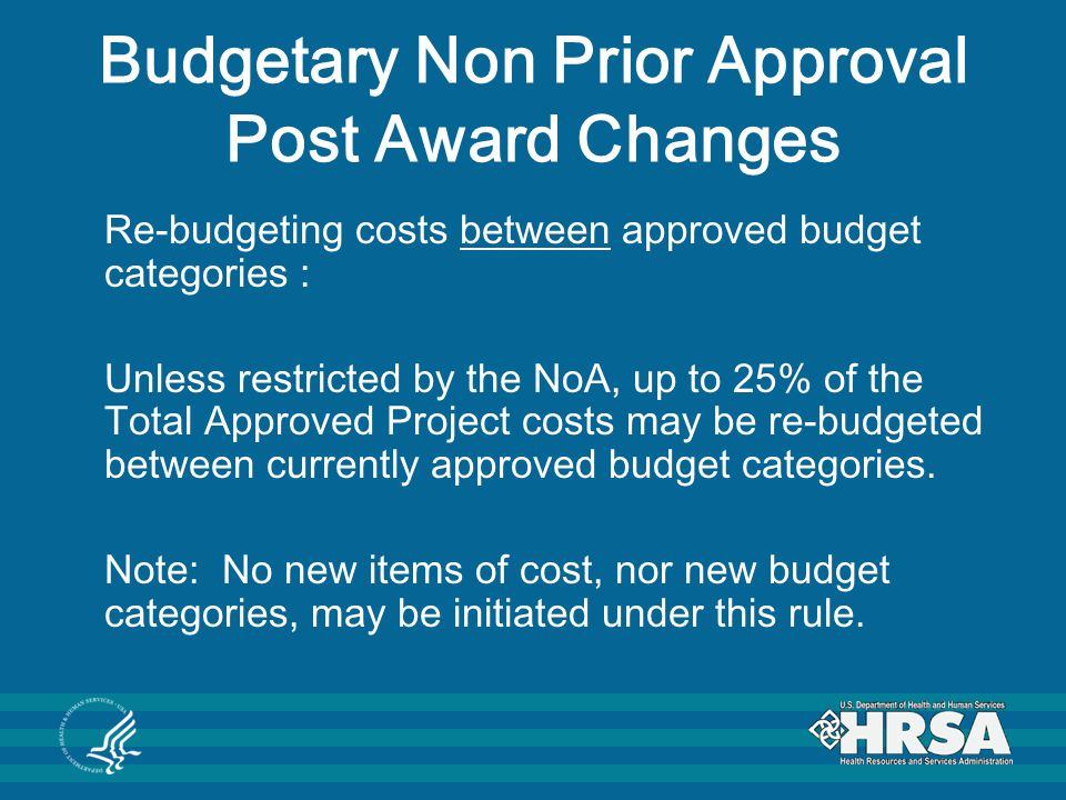 Budgetary Non Prior Approval Post Award Changes
