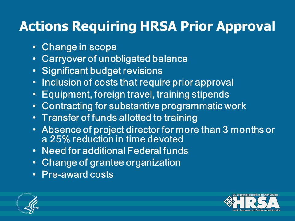 Actions Requiring HRSA Prior Approval