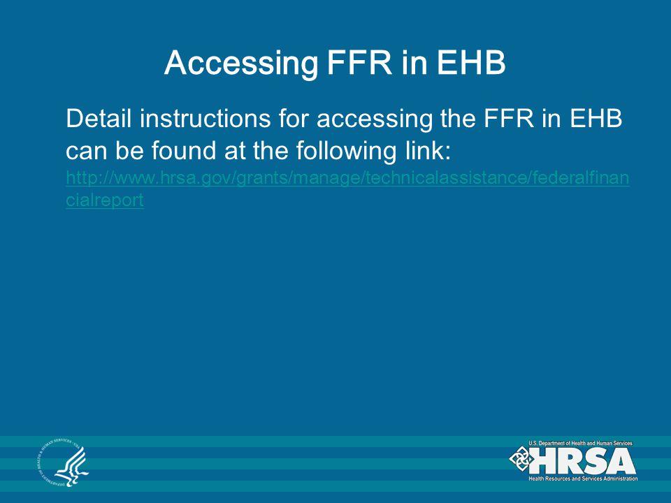 Accessing FFR in EHB