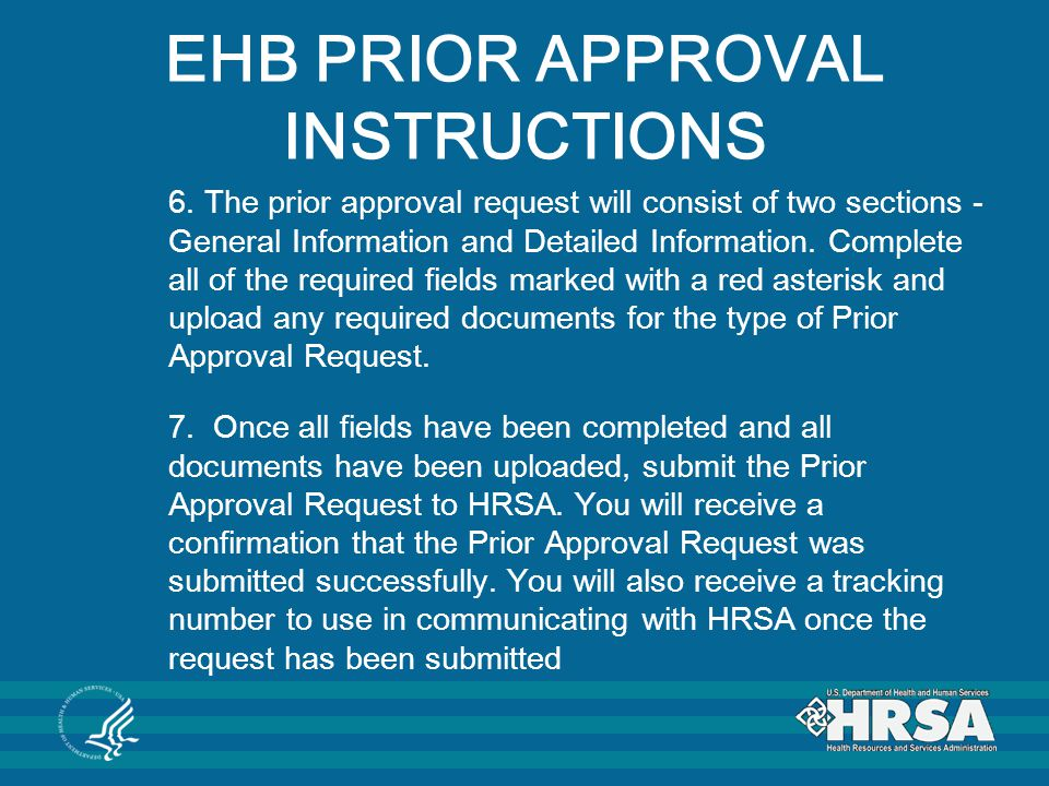 EHB PRIOR APPROVAL INSTRUCTIONS
