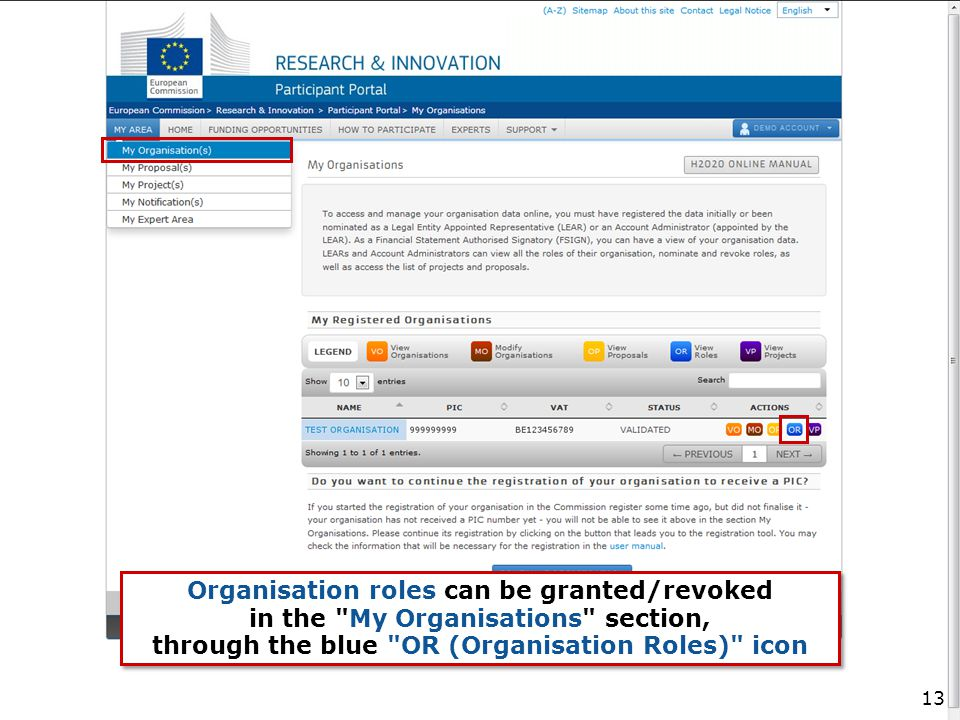 Organisation roles can be granted/revoked in the My Organisations section, through the blue OR (Organisation Roles) icon