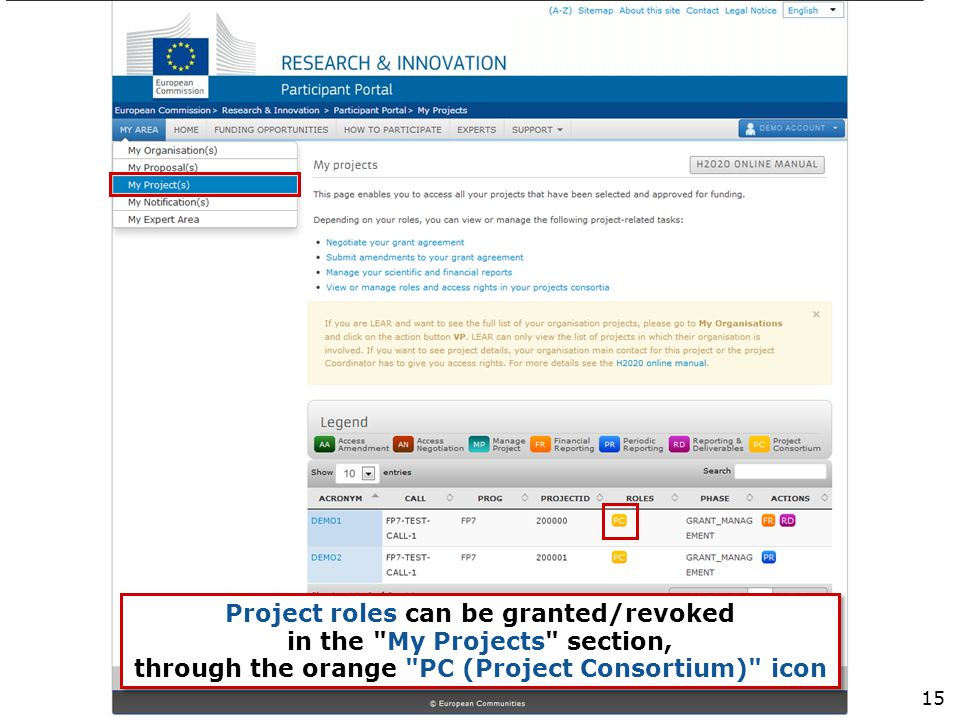Project roles can be granted/revoked in the My Projects section, through the orange PC (Project Consortium) icon