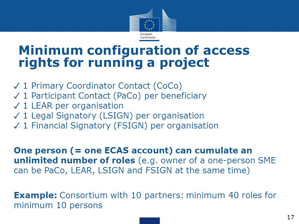 Minimum configuration of access rights for running a project