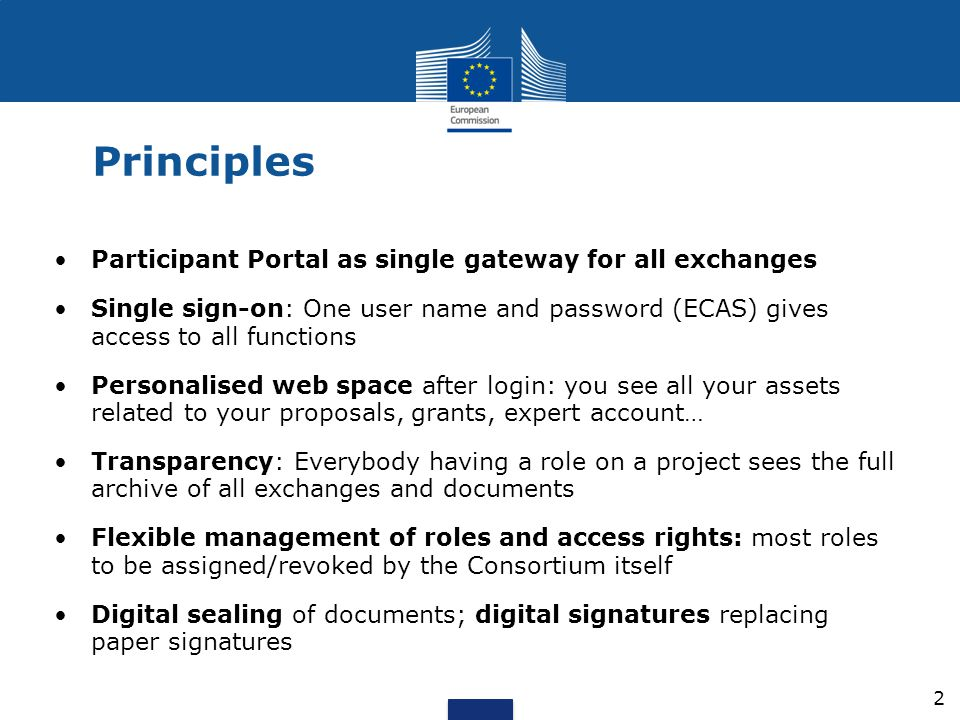 Principles Participant Portal as single gateway for all exchanges