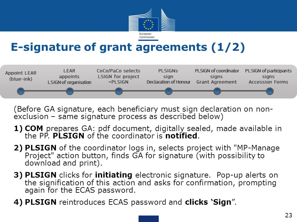 E-signature of grant agreements (1/2)