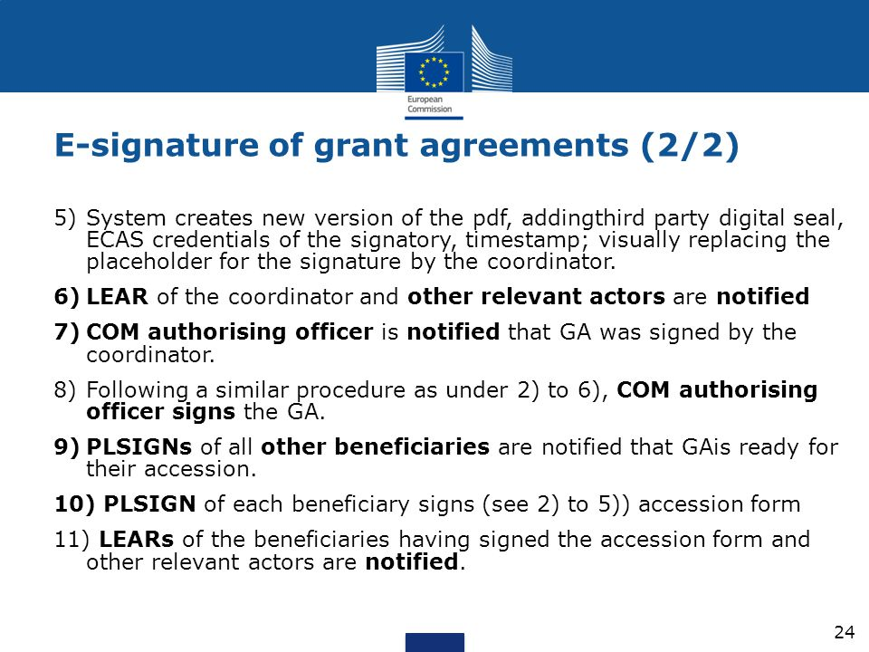 E-signature of grant agreements (2/2)