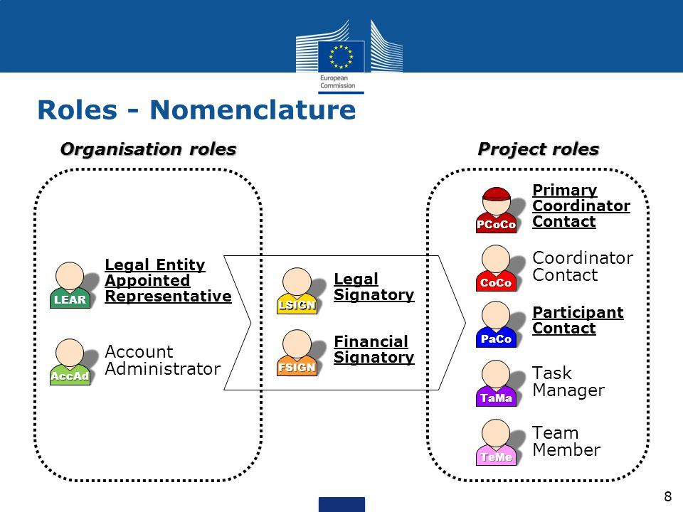 Roles - Nomenclature Organisation roles Project roles