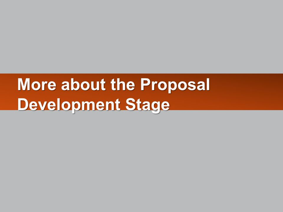 More about the Proposal Development Stage