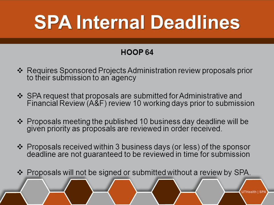 SPA Internal Deadlines