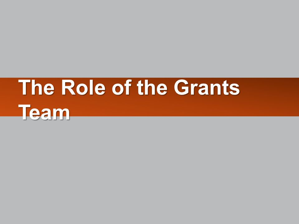 The Role of the Grants Team