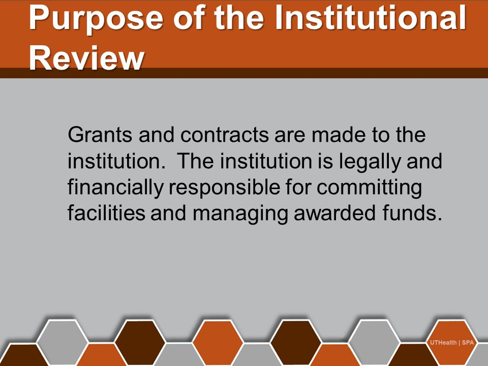 Purpose of the Institutional Review