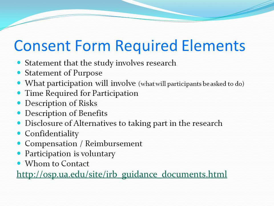 Consent Form Required Elements
