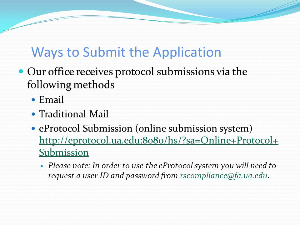 Ways to Submit the Application