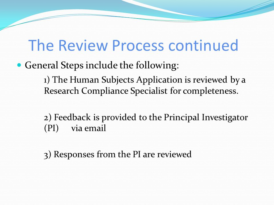 The Review Process continued