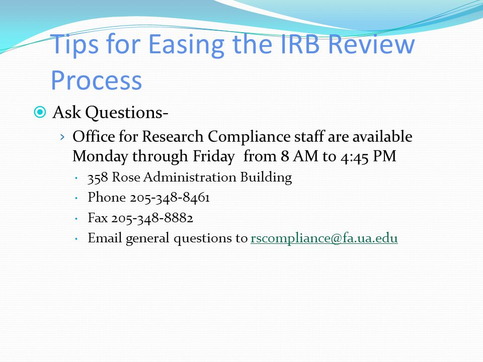 Tips for Easing the IRB Review Process