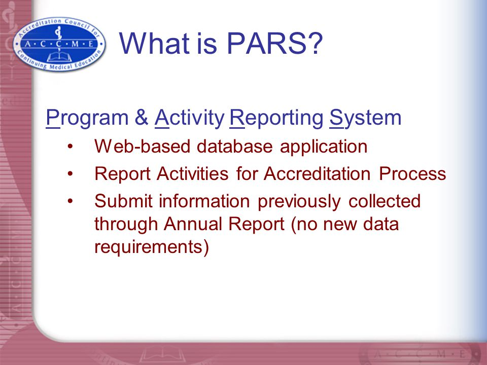 What is PARS Program & Activity Reporting System