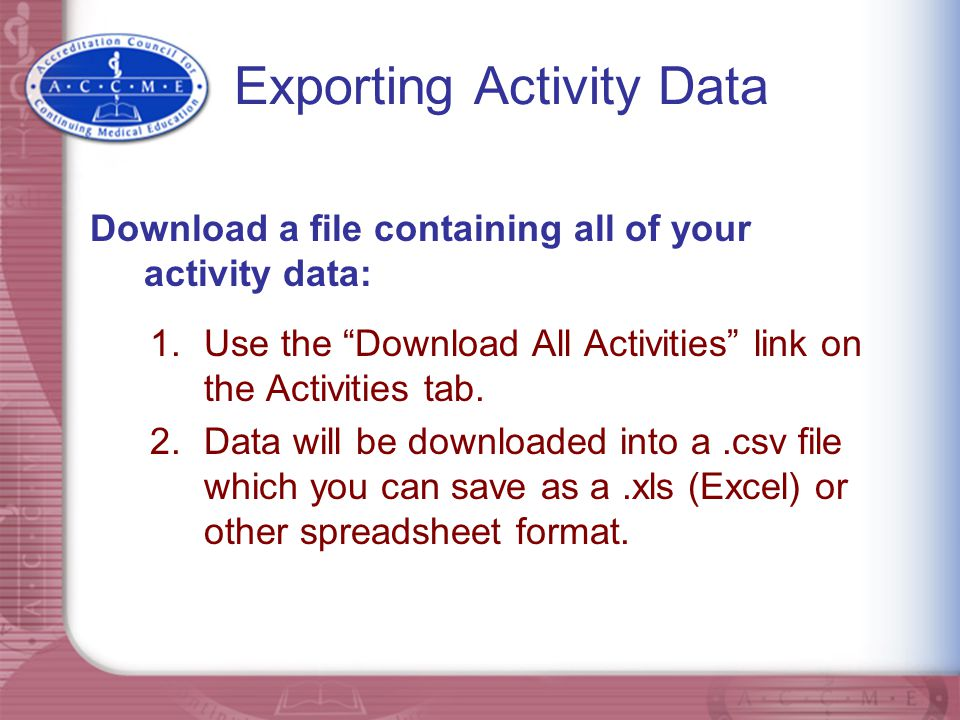 Exporting Activity Data