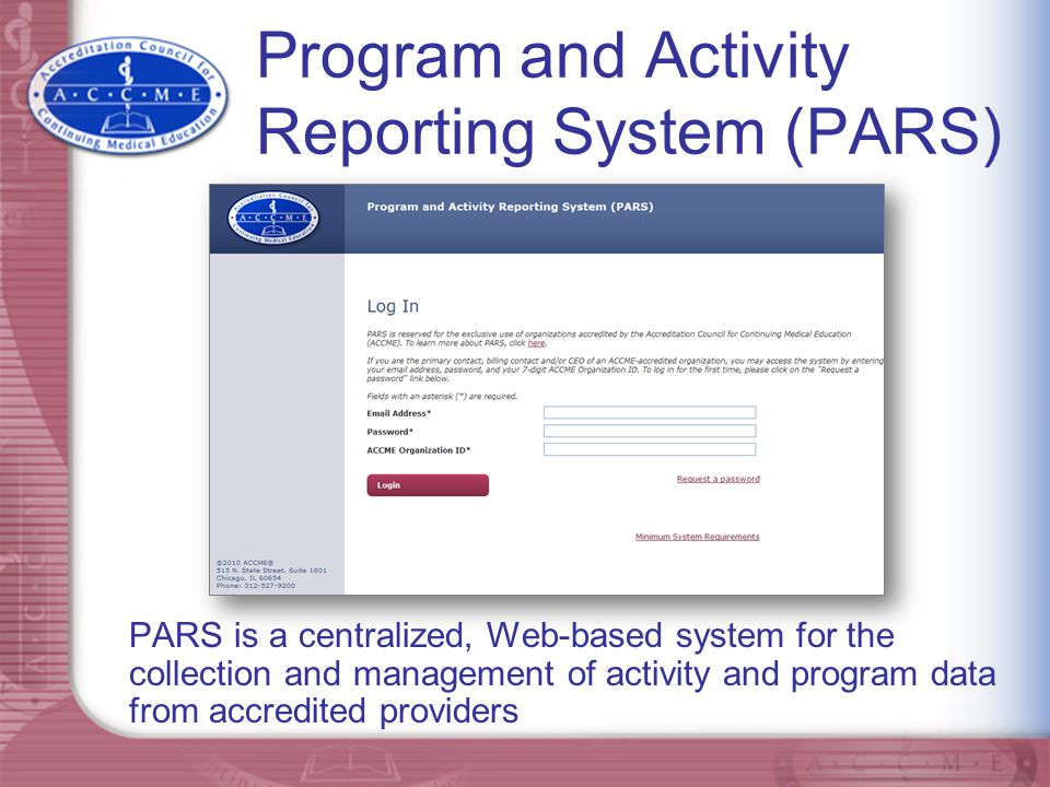 Program and Activity Reporting System (PARS)