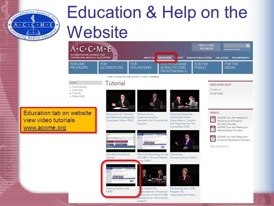 Education & Help on the Website