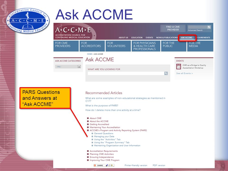 Ask ACCME PARS Questions and Answers at Ask ACCME