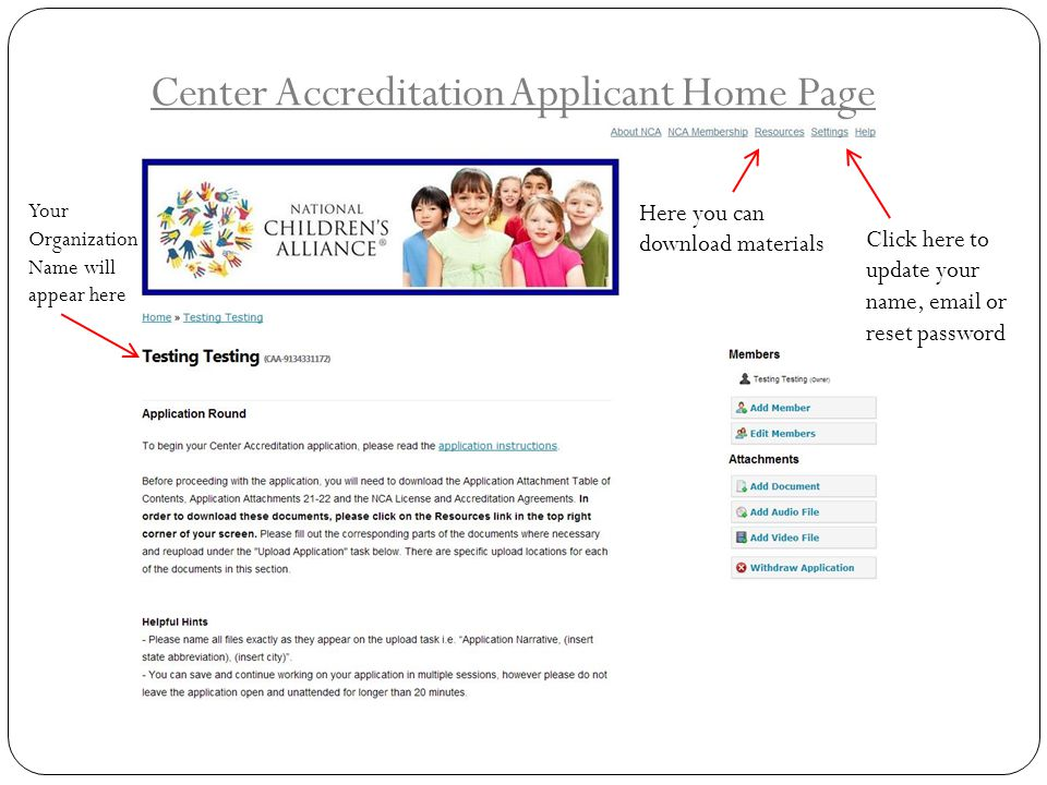 Center Accreditation Applicant Home Page
