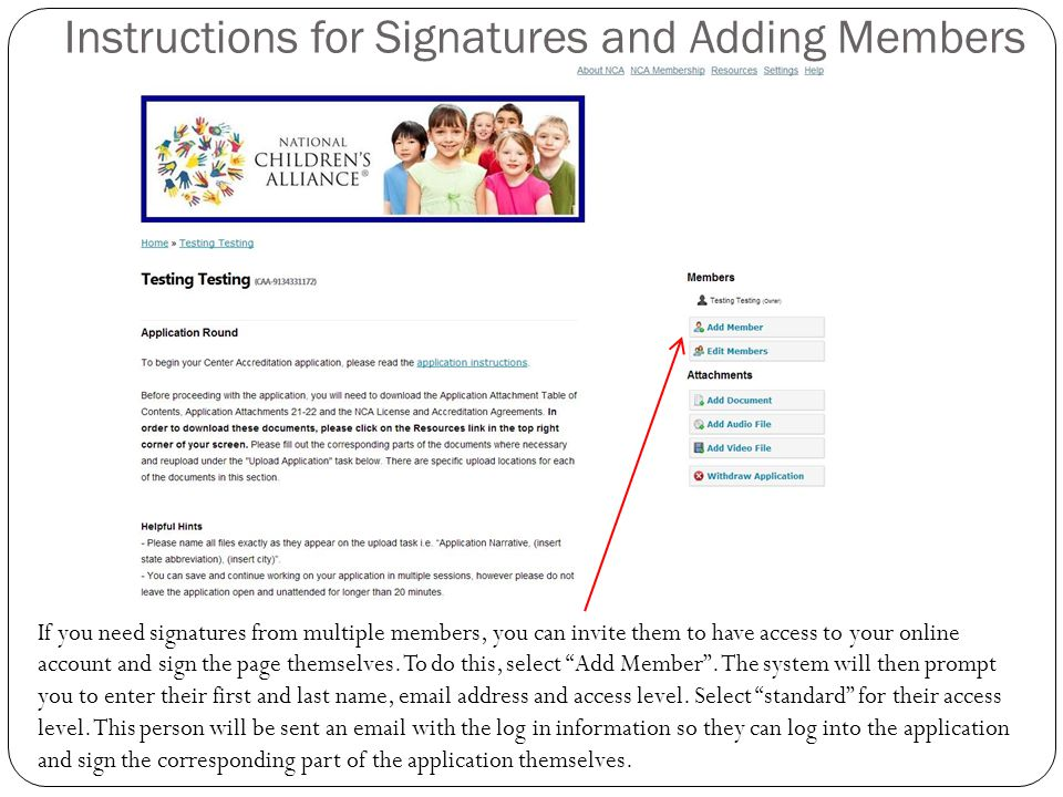 Instructions for Signatures and Adding Members