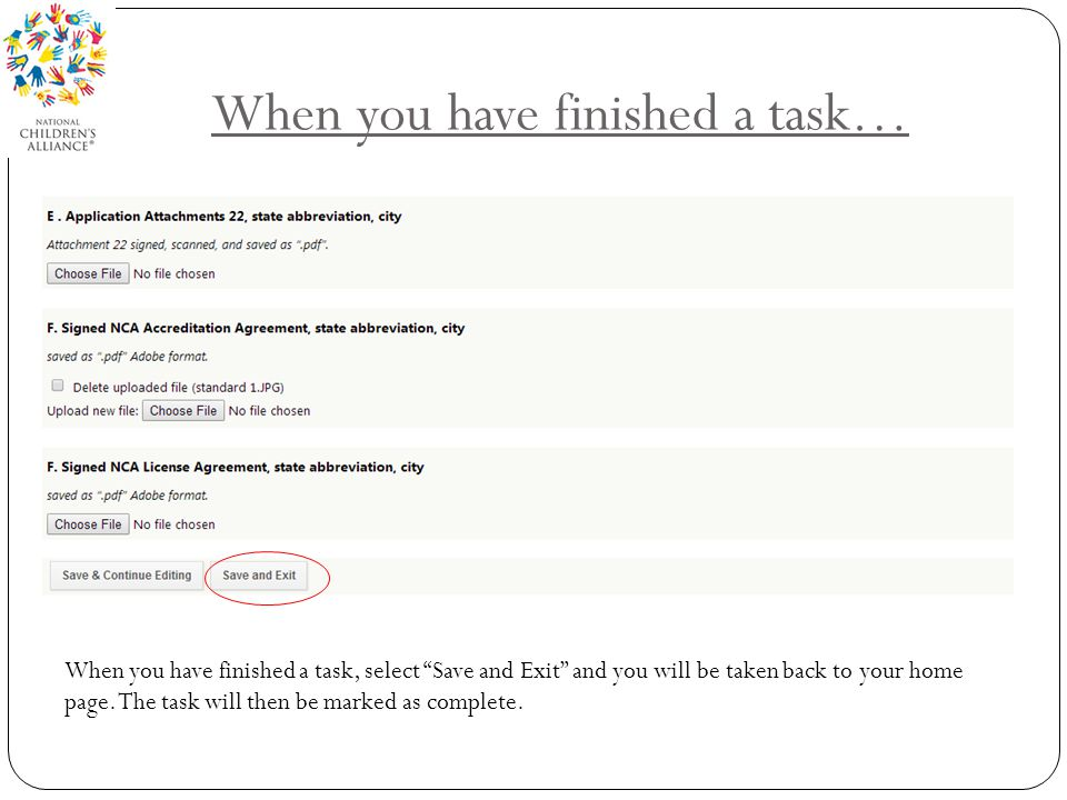 When you have finished a task…